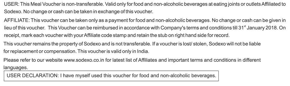 Sodexo coupons accepted in india
